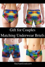 Load image into Gallery viewer, Gifts for Couples Rainbow Matching Underwear Briefs by Artist Rachael Grad