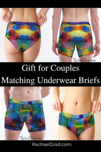 Gifts for Couples Rainbow Matching Underwear Briefs by Artist Rachael Grad