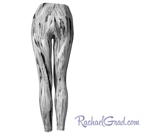 Gray yoga leggings by Toronto Artist Rachael Grad back view
