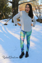 Load image into Gallery viewer, Green Chloe Art Leggings on Jess by Toronto Artist Rachael Grad Canadian winter pants