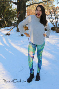 Green Chloe Art Leggings on Jess by Toronto Artist Rachael Grad Canadian winter pants