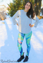 Load image into Gallery viewer, Green Chloe Art Leggings on Jess by Toronto Artist Rachael Grad