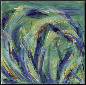 Green Grass Abstract Painting Original Artwork by Artist Rachael Grad