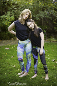 Teenage Girl Gifts Children Clothes, Green Art Leggings for Kids Tweens by Artist Rachael Grad