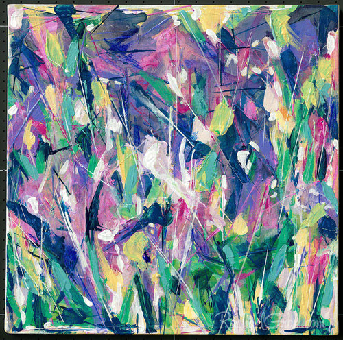 Green Purple Abstract Flowers Original Artwork by Artist Rachael Grad