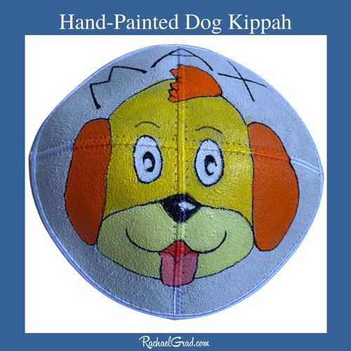 Hand-Painted Kippah with Dog Art by Toronto Artist Rachael Grad