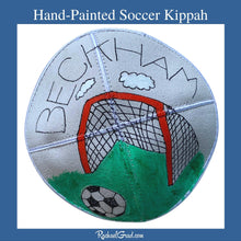 Load image into Gallery viewer, Hand Painted Soccer Art Kippah by Artist Rachael Grad for Beckham