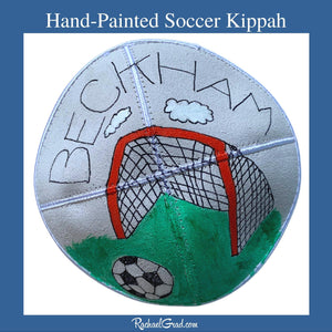 Hand Painted Soccer Art Kippah by Artist Rachael Grad for Beckham