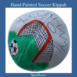 Hand Painted Soccer Kippah by Artist Rachael Grad for Beckham