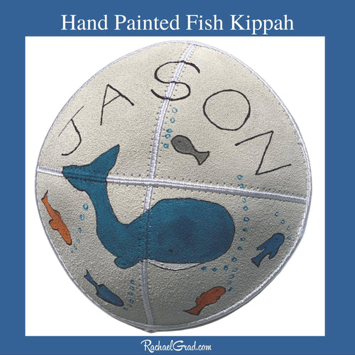 Hand Painted Fish Art Kippah by Artist Rachael Grad