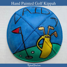 Load image into Gallery viewer, Hand Painted Kippah Yarmulka with Golf Art by Artist Rachael Grad