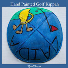 Load image into Gallery viewer, hand painted Kippah with Golf Art by Artist Rachael Grad