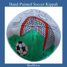 Load image into Gallery viewer, Hand-Painted Soccer Art Kippah by Artist Rachael Grad