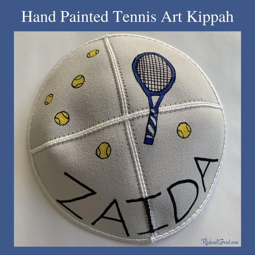 Hand Painted Kippah with Colorful Tennis Art by Artist Rachael Grad