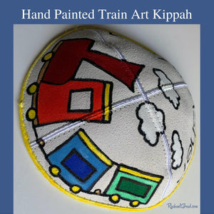 Hand Painted Train Art Kippah by Toronto Artist Rachael Grad side view