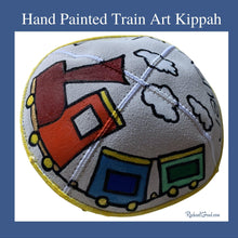 Load image into Gallery viewer, xHand Painted Train Art Kippah by Toronto Artist Rachael Grad with yellow
