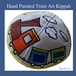xHand Painted Train Art Kippah by Toronto Artist Rachael Grad with yellow