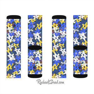 Art Socks Hanukkah Stars Chanukah Socks by Toronto Artist Rachael Grad all views