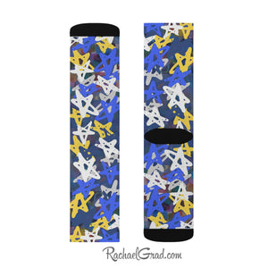 Art Socks Hanukkah Stars Chanukah Socks by Toronto Artist Rachael Grad one sock both sides