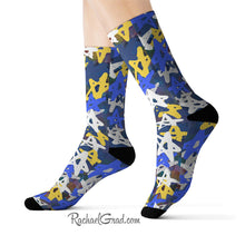 Load image into Gallery viewer, Art Socks Hanukkah Stars Chanukah Socks by Toronto Artist Rachael Grad on model