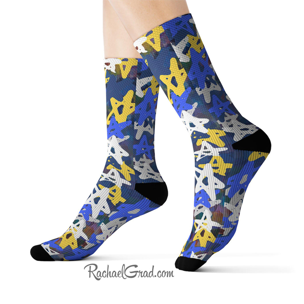 Art Socks Hanukkah Stars Chanukah Socks by Toronto Artist Rachael Grad on model