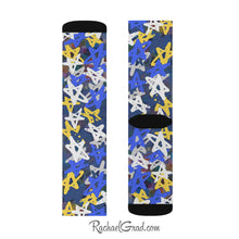 Load image into Gallery viewer, Art Socks Hanukkah Stars Chanukah Socks by Toronto Artist Rachael Grad one sock both sides one