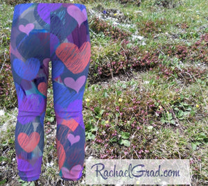 Hearts Baby Leggings by Artist Rachael Grad, Valentines Gifts for Toddlers and Kids
