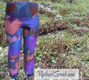 Hearts Baby Tights by Artist Rachael Grad, Valentines Gifts for Toddlers and Kids