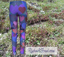 Load image into Gallery viewer, Kids Leggings with Hearts Valentines Gifts for Girls by Rachael Grad back view