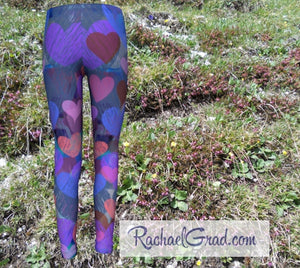Kids Leggings with Hearts Valentines Gifts for Girls by Rachael Grad back view