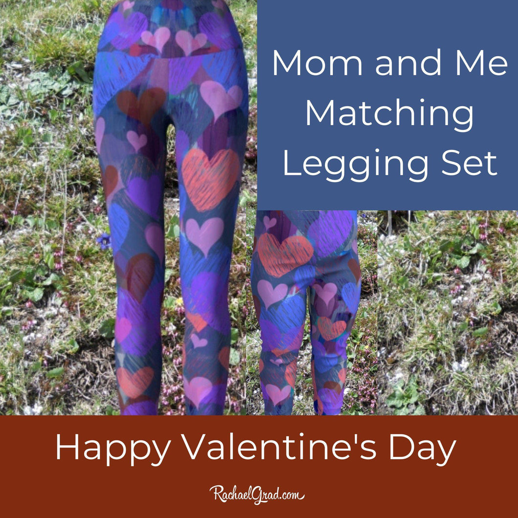 Valentines Gifts for Mom, Mommy and Me Matching Leggings Tights, Mom and Daughter Outfit, Hearts Art Pants Set, Gift for Moms, New Mom Gifts by Artist Rachael Grad