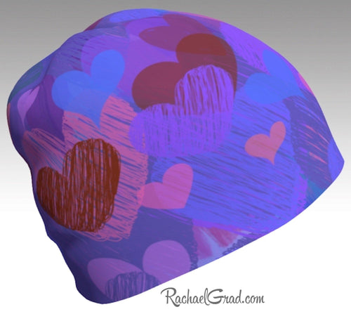 Valentines Day Gifts, Hearts Valentines Winter Hat, Heart Toque Women Kids Beanie Hat Hearts Art Hats Beanie Women Colorful Hats for Her by Artist Rachael Grad