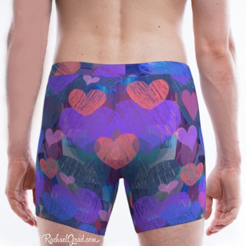 Hearts Boxer Briefs Underwear for Men by Artist Rachael Grad
