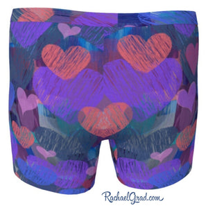 Hearts Boxer Briefs Underwear for Men by Artist Rachael Grad back