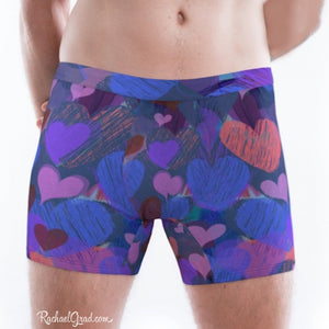 Hearts Boxer Briefs Underwear for Men by Artist Rachael Grad on model