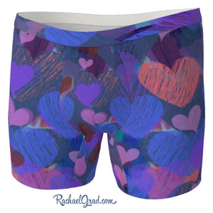 Hearts Boxer Briefs Underwear for Men by Artist Rachael Grad front