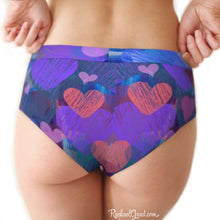 Load image into Gallery viewer, Hearts cheeky briefs underwear for women Valentines by Artist Rachael Grad back on model
