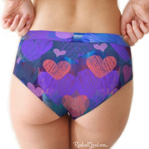 Hearts cheeky briefs underwear for women Valentines by Artist Rachael Grad back on model