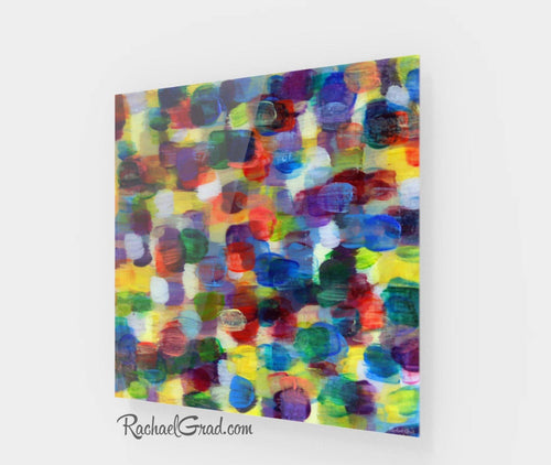 Colorful Wall Art | Square Abstract Art Prints | Yellow Purple Multicolored Abstract Art Wall Decor Colors | Colourful Prints by Artist Rachael Grad