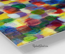Load image into Gallery viewer, Colorful Wall Art | Square Abstract Art Prints | Yellow Purple Multicolored Abstract Art Wall Decor Colors | Colourful Prints by Artist Rachael Grad corner closeup
