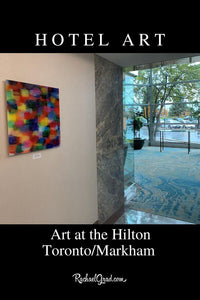 Colorful Art in the Hilton Toronto Markham Suites by Artist Rachael Grad outside gym and spa, fall colors