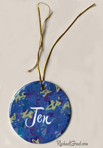 Jen holiday ornament with Stars by Artist Rachael Grad cream background