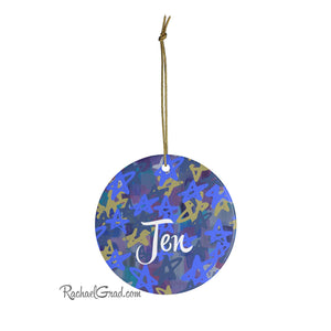Holiday Ornament with Stars Art by Artist Rachael Grad Christmas Chanukah gift for Jen