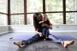 Jess and Baby Rachel in Matching Alex Leggings by Artist Rachael Grad, sitting on floor