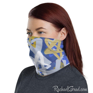 stars face mask with full coverage by Canadian Artist Rachael Grad on woman side view
