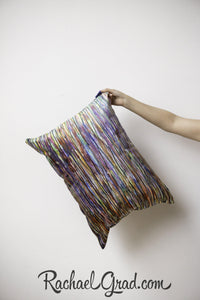Lines Art Pillow Held in Hand by Toronto Artist Rachael Grad