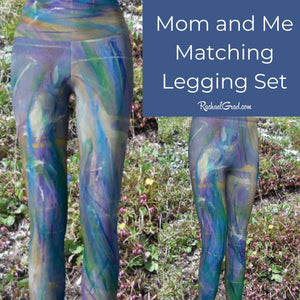 Maia Mommy and Me Matching Leggings, Mom and Me Outfit Blue Pants, Blue Kids Tights, Girls Yoga Blue Pant Kid Legging