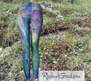 Maia Women's leggings in blue by Toronto artist Rachael Grad back view
