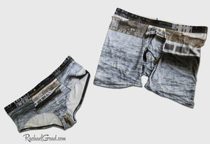 MatchingUndies for Her and Him Venice Italy Dogs Swimming by Artist Rachael Grad
