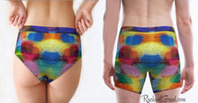 Load image into Gallery viewer, Holiday Gift Matching Underwear Couple, His and Hers Matching Underwear Rainbow Boyfriends Girlfriends, Matching LGBTQ Rainbow Underwear Set by Artist Rachael Grad back